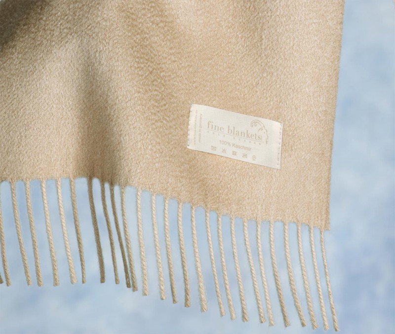 Decke Versailles 100% Cashmere in sandbeige mit Wasserglanz 130x220cm