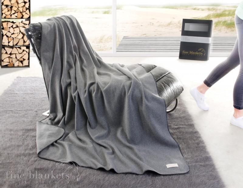Decke Cashana umkettelt 100% Cashmere in grau - 4 Größen