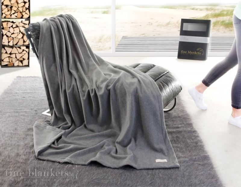 Decke Cashana Kuvertsaum 100% Cashmere in grau 140x190cm
