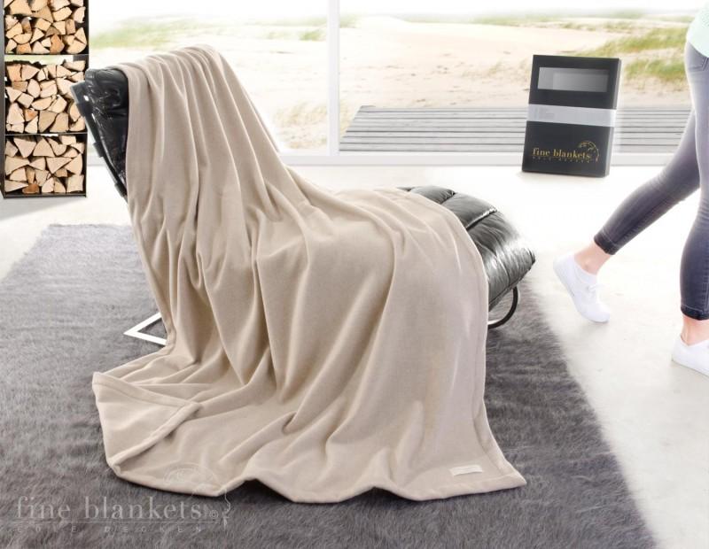 Decke Cashana Kuvertsaum 100% Cashmere in creme 140x190cm